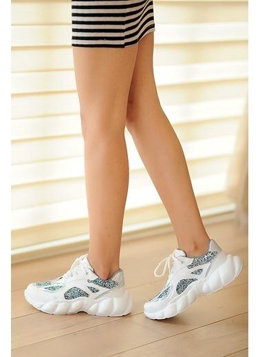 Pembe Potin Ayakkabı Beyaz